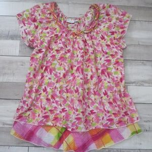 Kim Rogers Floral & Plaid Print Blouse Size S